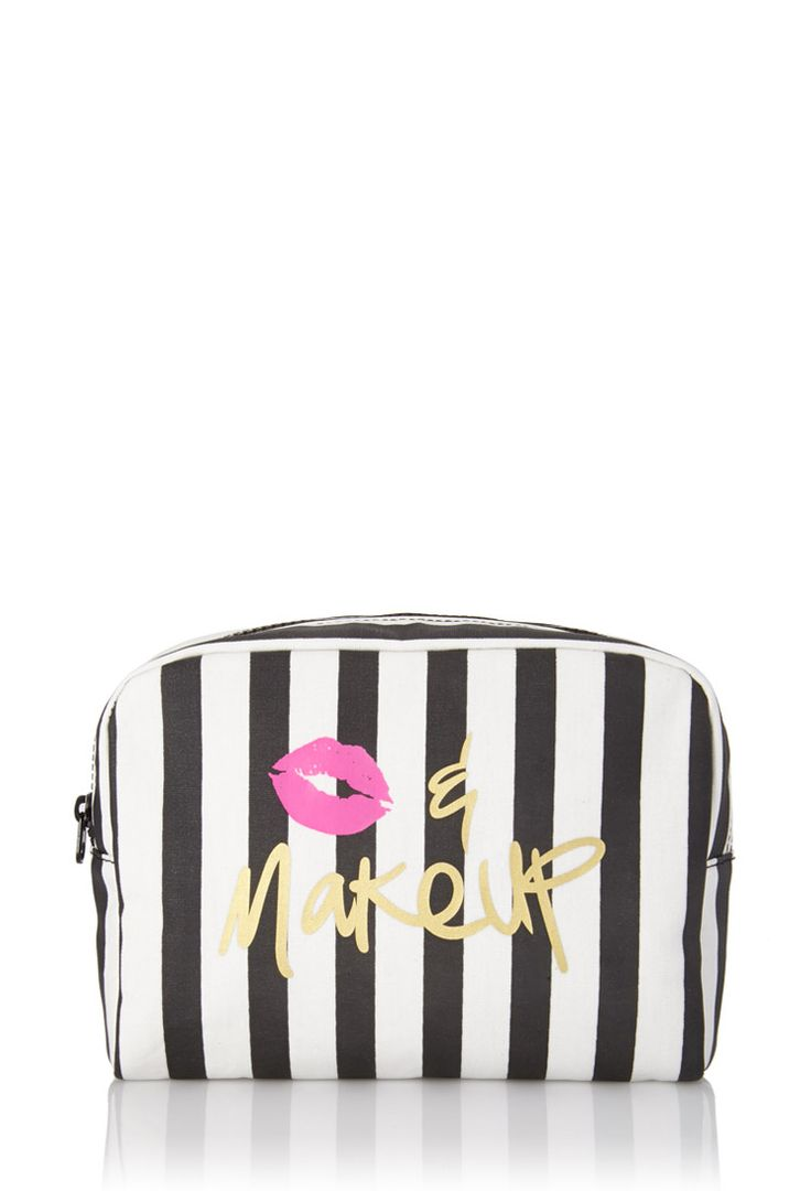 Striped Kiss & Makeup Cosmetic Bag   FOREVER21 #F21Cosmetics #Makeup #Stripes