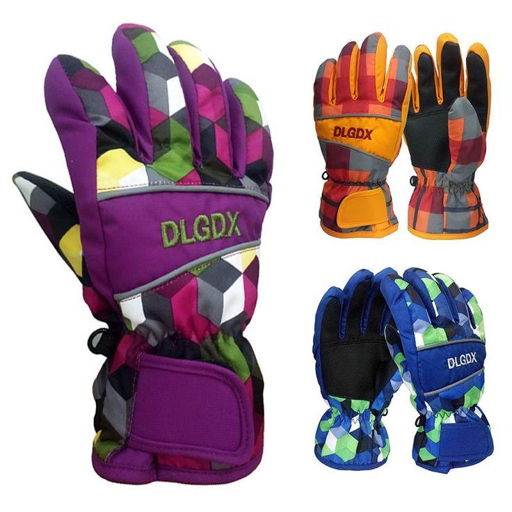 New Kids Ski Gloves Multi-Colored Waterproof Glove Children Sports Warm Helper