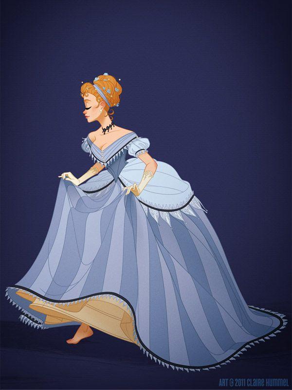Uma nova concepção dos vestidos das princesas Disney levando em conta os vestidos reais das épocas em que se passam os contos por Claire Hummel. Cinderela: vestido de baile dos anos 1860.
