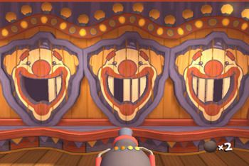 carnival games Do the clown faces with cereal boxes behind that get knocked out at one time.