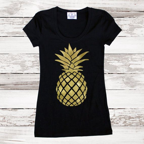 Pineapple Fitted Tee T Shirt Gold Pineapple Top for Women Teens - Tumblr Tee Gold Foil Pineapple Graphic Tee Plus Size Available Gift Idea