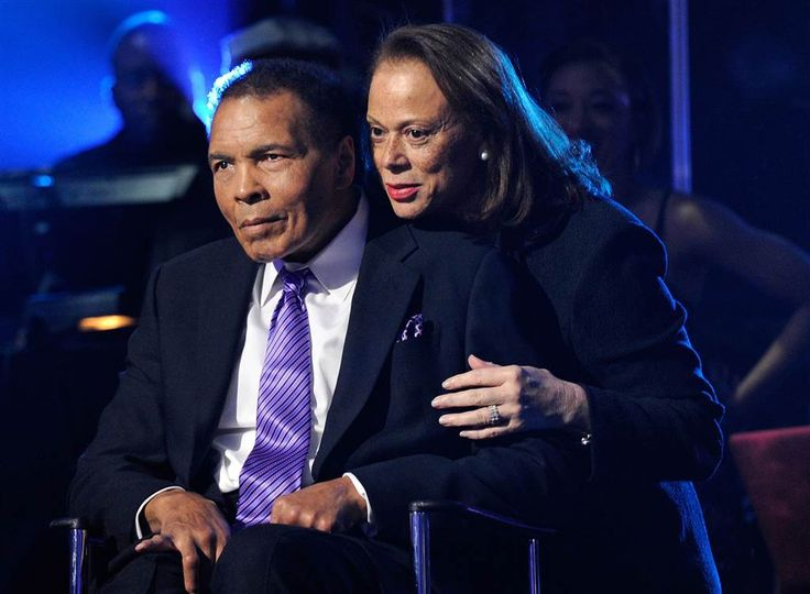 "Ali and wife Lonnie Ali appear onstage during the Keep Memory Alive foundation's ""Power of Love Gala"" celebrating Muhammad Ali's 70th birthday at the MGM Grand Garden Arena, Feb. 18, 2012 in Las Vegas, Nevada. The event benefits the Cleveland Clinic Lou Ruvo Center for Brain Health and the Muhammad Ali Center. Photos - NBC News"