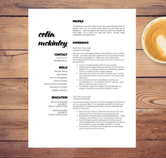 creative resume template for word a4 letter 1 2 3 page resumes included cover ref cv modern resume instant download