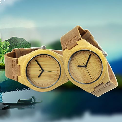 Mannen Retro Lederen Band Horloge Houten Case Quartz Horloge Gift(China (Mainland))
