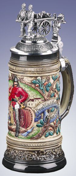LE German Beer Stein Old Time Fireman - Authentic Beer Steins from Germany