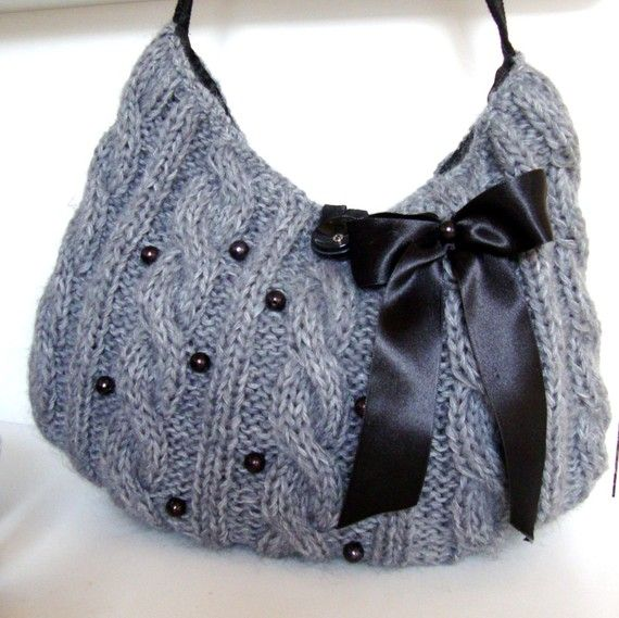 Handknit Gray Shoulder Bag with Ornamented Beads by Pasin