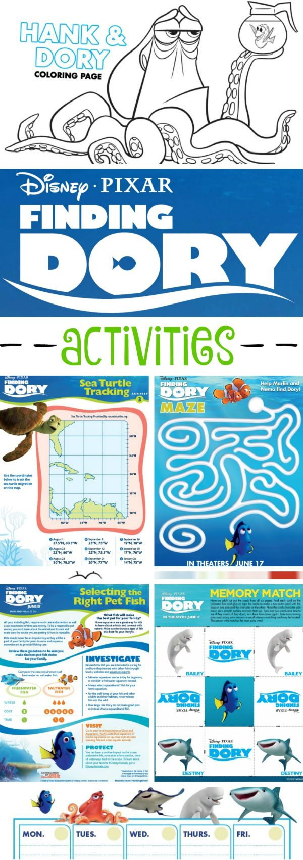 0cean coloring pages - Finding Dory Lesson Plans And Fun Activity Pages For Kids