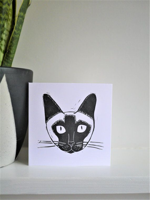 Siamese Cat Card Hand Printed Lino Print by TheBlackPugPress