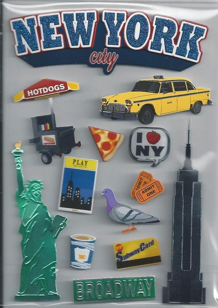 NEW YORK CITY 3d Scrapbook Stickers #Recollections