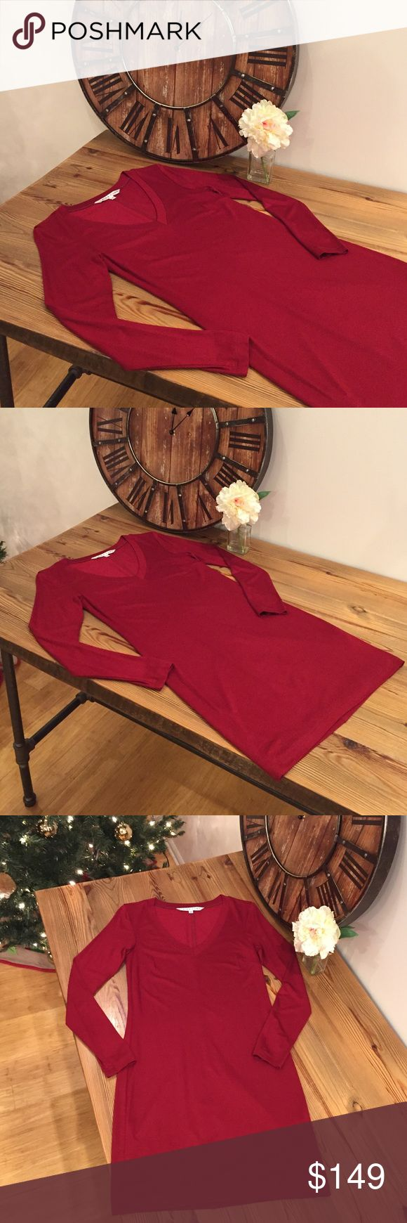 Trina Turk Dark Red Long Sleeve Dress Perfect condition! Crisp and clean hem lines, double layered (not even a little see through) long sleeve mini dress. T-shirt style, but the material is thick and high quality, so a bit dressier. Never worn. New without tags :) size P is equal to an xs. Trina Turk Dresses
