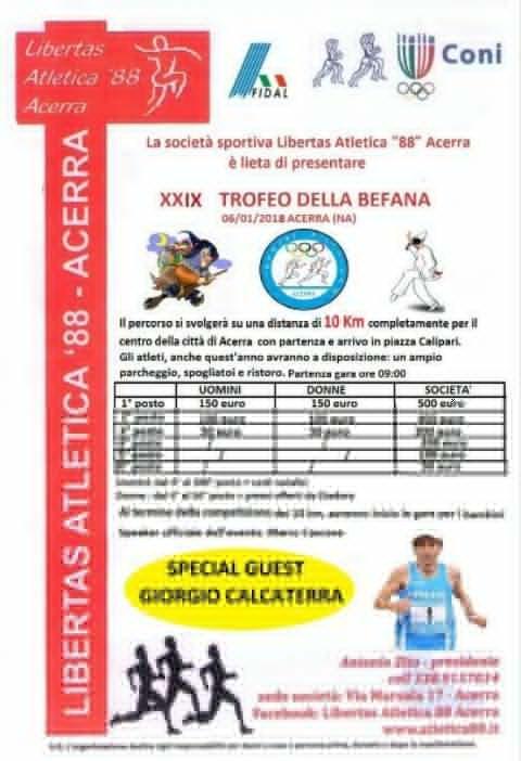 Giorgio Calcaterra atteso al 29° Trofeo della Befana ad Acerra (NA) | atleticanotizie
