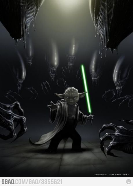 Alien Vs Yoda -- So sick ! Predators thank god there are not.