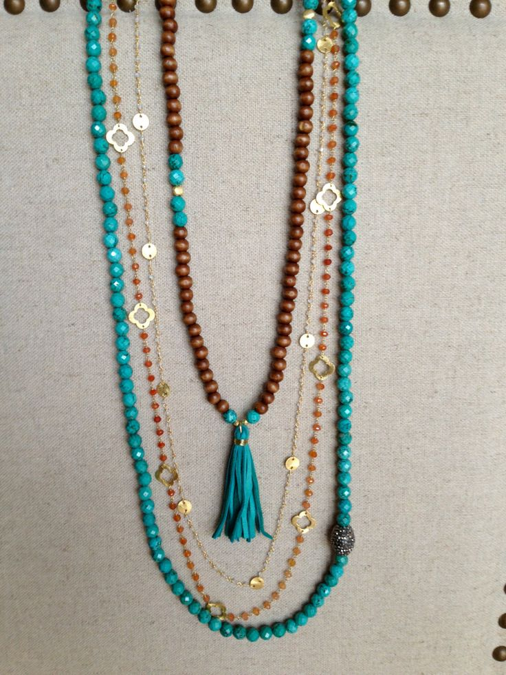 The Comal- Wood and Turquoise Necklace with Turquoise Leather Tassel, www.etsy.com/shop/txgoldengirl