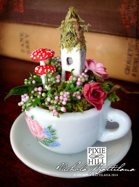 I Love This!!!!! Tiny Fairy Cottage and Garden in a Miniature by PixieHillStudio, $35.00