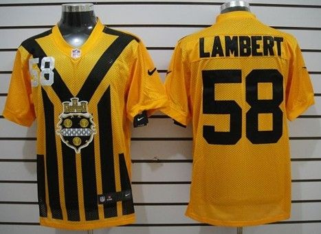 Men's Pittsburgh Steelers #58 Jack Lambert 1933 Yellow Throwback Jersey