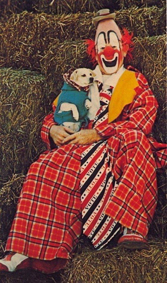 Don't let the puppy and the funky '70s clothes fool you, he is pure evil. | 21 Vintage Clown Photos That Will Make Your Skin Crawl
