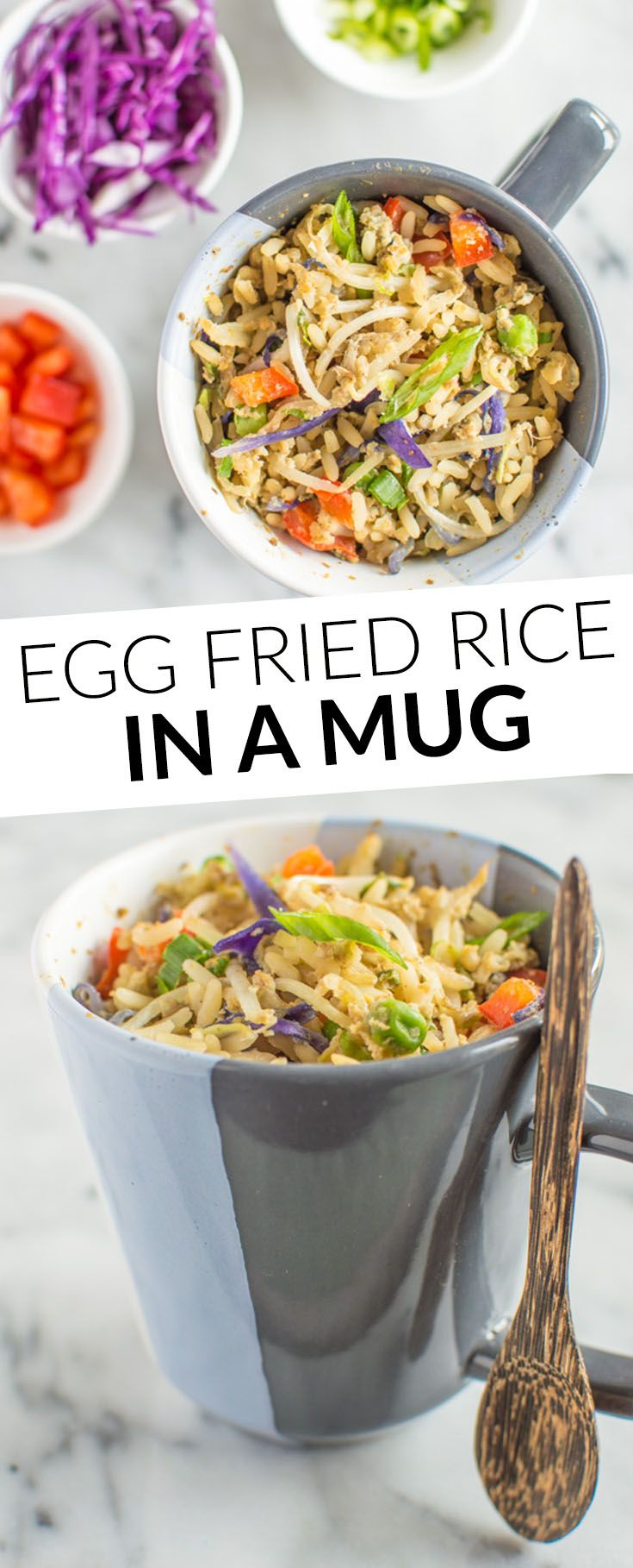 Egg Fried Rice In A Mug - easy meal in 10 minutes! @healthynibs