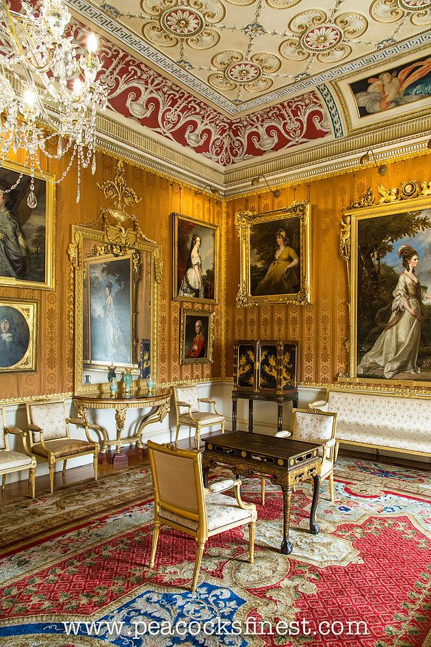 Harewood House, The Cinnamon Drawing Room. The room features a number of the Lascelles family portraits, as well as a pair of George III console-tables, exquisitely inlayed with marquetry, originally supplied by Thomas Chippendale in c. 1770 for the Dining Room, ensuite with a pair of pier glasses. Chinese-export black and gold-japanned cabinets (a pair), mounted on Chippendale's stands compliment the pair of centre table in the same taste.