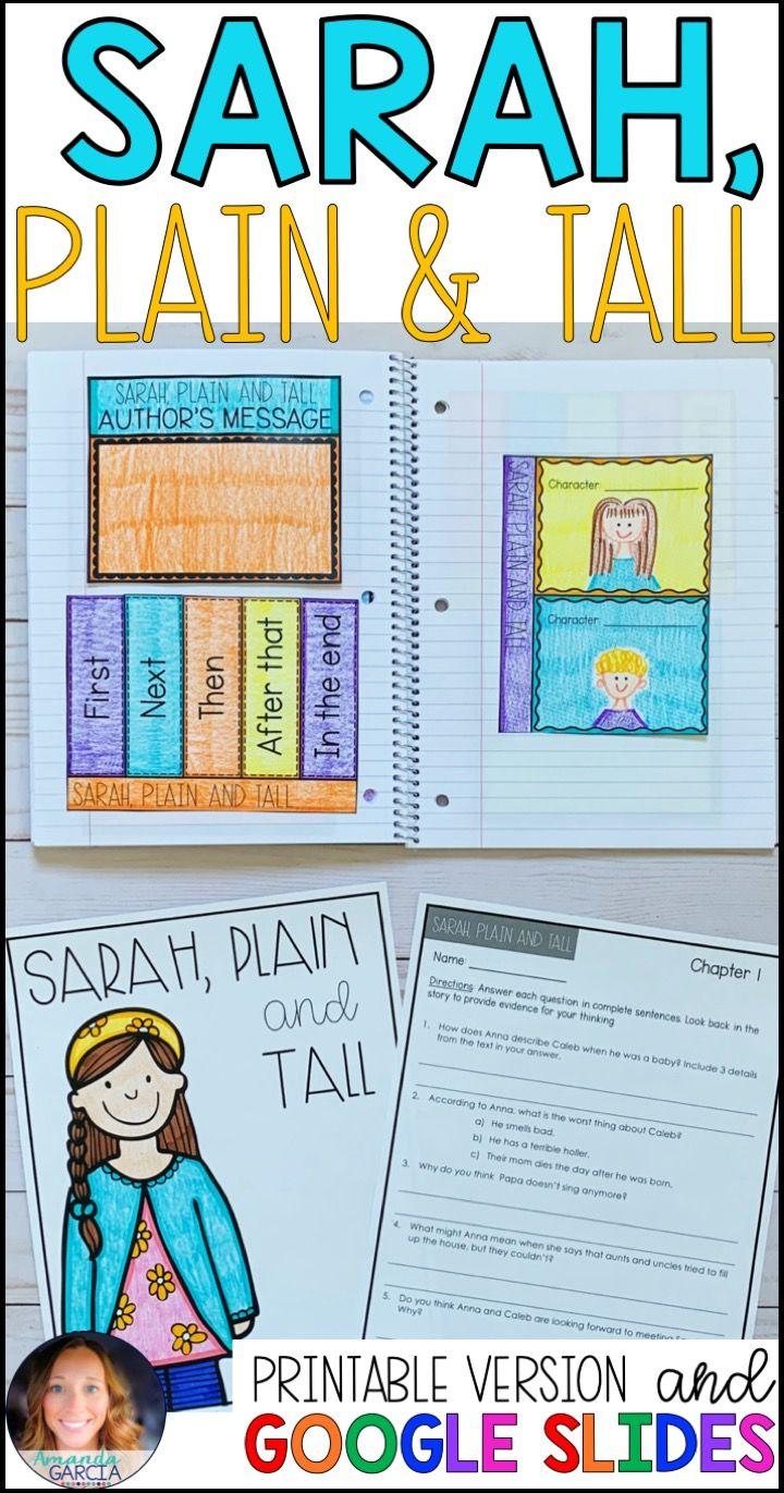 Sarah Plain And Tall Distance Learning With Google Classroom Third Grade Reading Activities Novel Studies Book Study