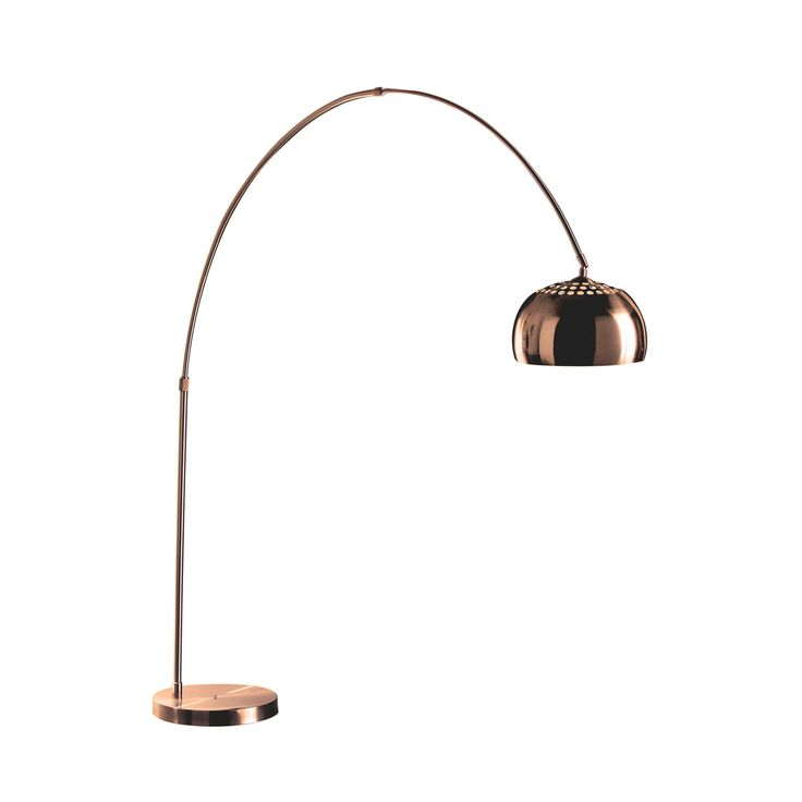 Arco Style Copper Floor Standing Drop Light - This Copper finish Arco style Floor Standing Lamp is a true statement piece and will define your room with its classic bahaus style. This lamp works perfectly hanging over any sofa and will frame it to perfection as well as adding an elegant down light to further accentuate the space.