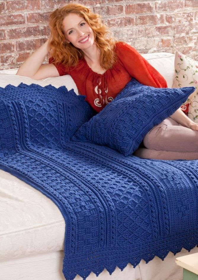 Blueberry Mornings Basket Weave Crochet Afghan & Pillow | Get two patterns for free with this full tutorial!