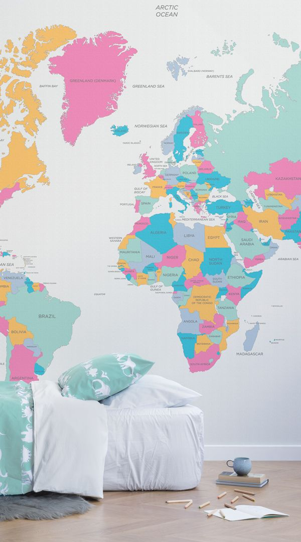 The 25 best ocean names ideas on pinterest names of oceans this brightly coloured world map mural is a bright and fun way to decorate your childs gumiabroncs Images