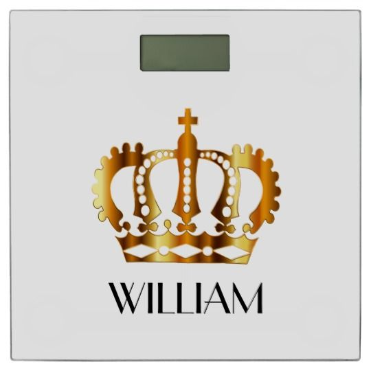 Personalized Gold Royal Crown White Bathroom Scale Give your bath a royal touch with this white bathroom scale with a golden crown symbol in the center. The black name print under the gold crown is personalizable.