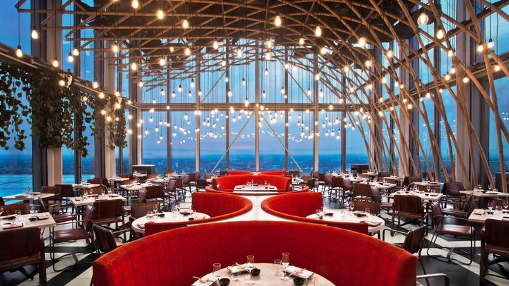 One of our images of the Sushi Samba restaurant in Heron Tower, London. | #restaurant #interiordesign #architecture #photography #London | Kalory photo and video  | www.kalory.co.uk