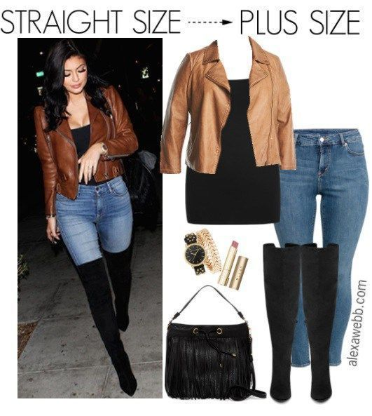 Straight Size to Plus Size – Moto Jacket Outfit - Plus Size Fall Outfit - Plus Size Fashion for Women - alexawebb.com #alexawebb #plussize #fall #causal #jeans #outfit