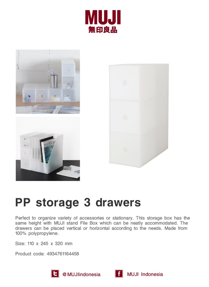[PP storage 3 drawers] Perfect to organize variety of accessories. The drawers can be placed vertical or horizontal.