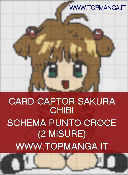 schema punto croce anime manga card captor sakura chibi