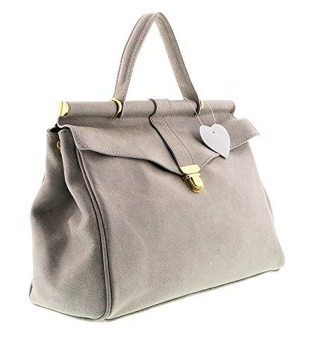 HS2071 VIVI Grey Leather Top Handle/Shoulder Bag ** Additional details at the pin image, click it  : Handbag Clutches