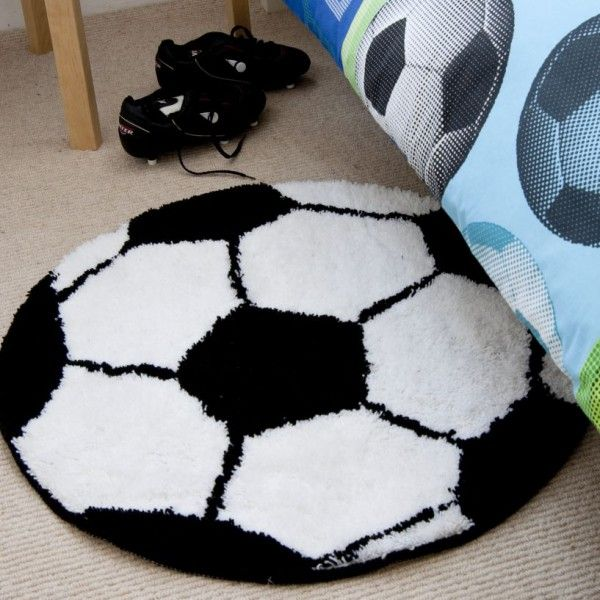 Football black & white rug for kids bedroom accessories by Catherine Lansfield