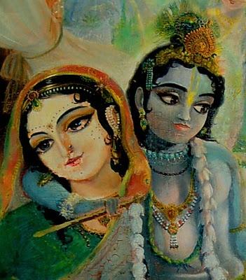 Murals of Krishna Balaram Temple, Vrindavan, UP, India : Krishna