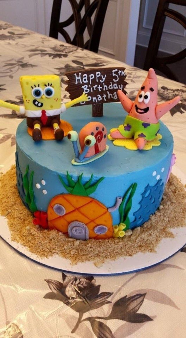 Terrific 23 Pretty Picture Of Spongebob Birthday Cake With Images Funny Birthday Cards Online Alyptdamsfinfo