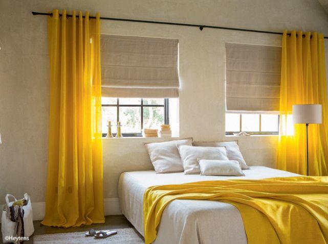Cortinas amarillas para habitacion y sabanas