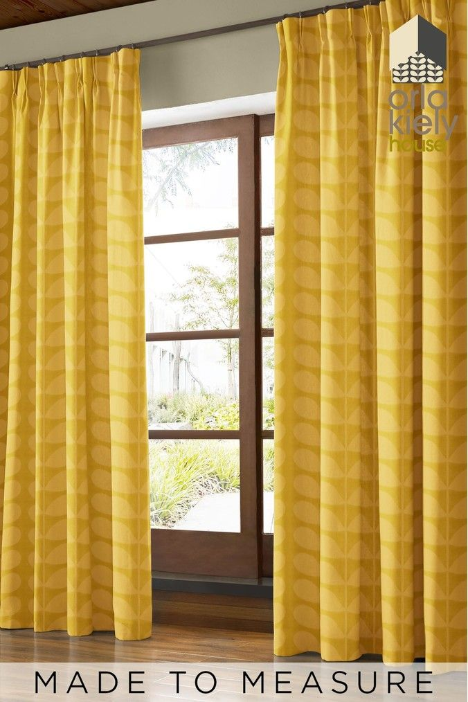 Jacquard Stem Dandelion Yellow Made To Measure Curtains By Orla Kiely Made To Measure Curtains Curtains Orla Kiely