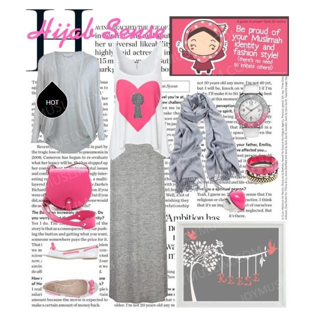 Fashionable pink and grey matching