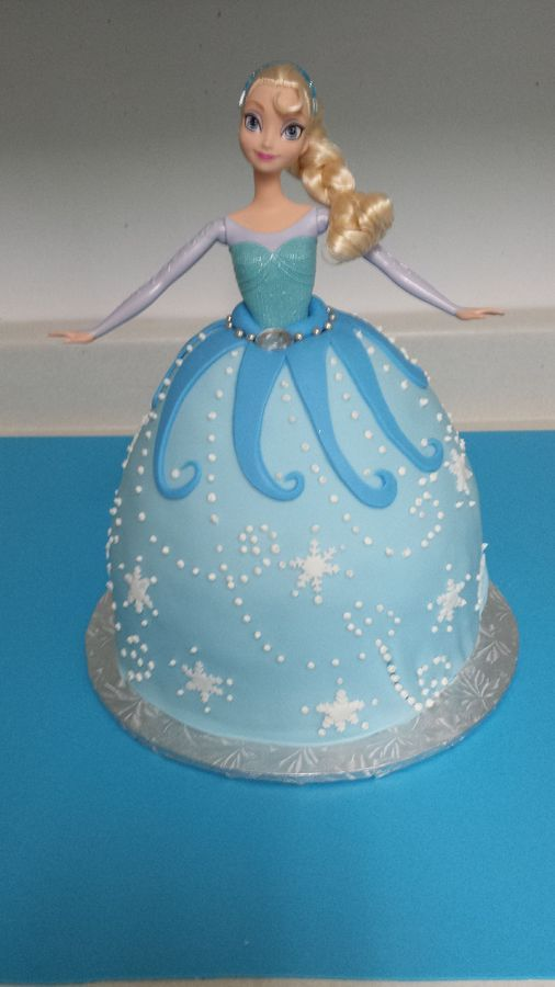 My version of a Princess Elsa cake. WASC cake with vanilla buttercream covered in fondant