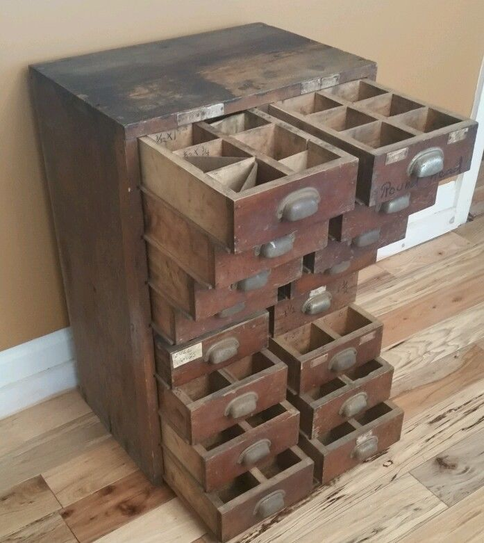 """Antique wooden 16 drawer hardware cabinet. Tool cabinet.Great rustic decor, 35"""""""
