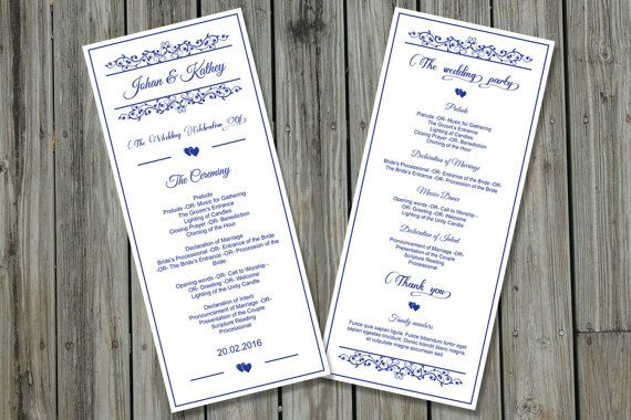 Wedding Program Template  Editable MS Word by WeddingTemplateStock