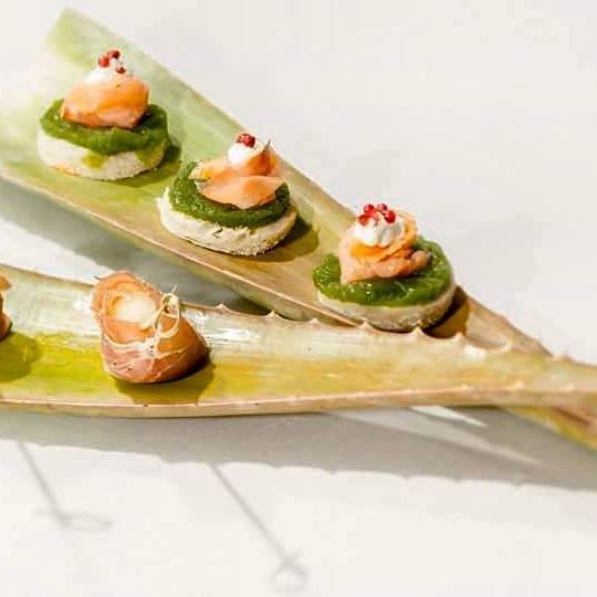 These #bites are really #spicy ! #Canape with #smokedsalmon #fillet , in a bed of #cucumber #spread , #creamcheese and #redpepper ! #bonappetit ! #santorini #SpicyBitesCateringEvents #events #catering #dinnertime #santoriniisland #wedding #weddingdinner #fingerfood