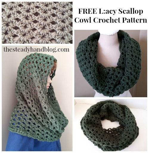 FREE Crochet Pattern: Lacy Scallop Cowl