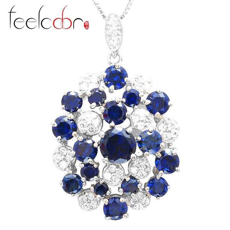 Wholesale 5.5ct Exquisite Blue Sapphire Round Pendent Necklace 2014 Stylish New Hot For Women Gift 925 Sterling Silver Set