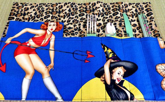 Halloween Pin Up Girl Zero Waste Roll Up Placemat Set with