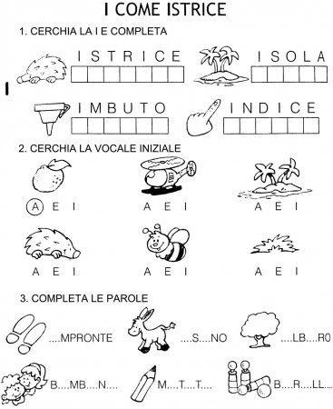 scheda esercizi vocali A E I classe prima