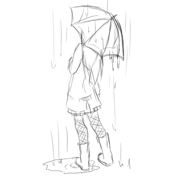 girl with umbrella drawing | Umbrella girl sketch by *witchgirl117 on deviantART