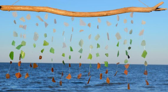 Sea Glass Wind Chime ~ Driftwood BeachGlass Windchime ~ Rustic Wind chimes for beach nature lover, Ocean Inspired SeaGlass Art, Wedding