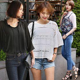 Gmarket - DARLLY Long sleeve blouse / shirt / plaid / solid co...