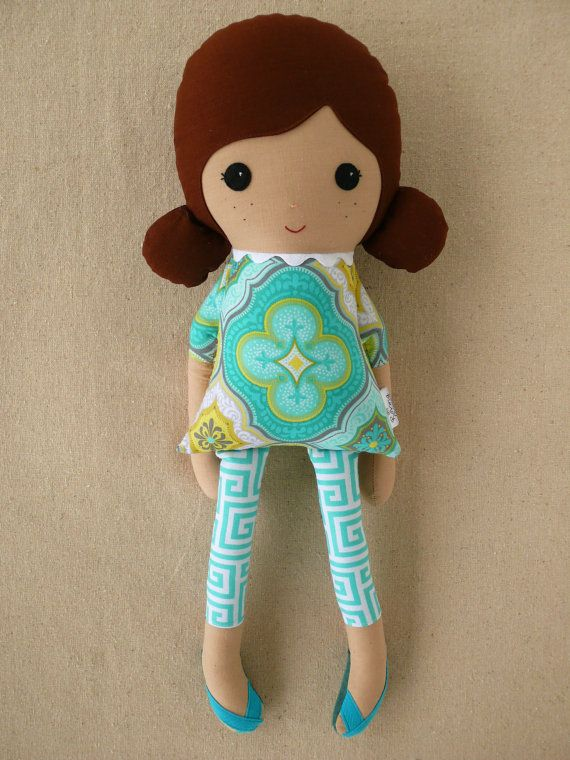 Fabric Doll Rag Doll Girl in Blue Geometric Dress by rovingovine, $35.00
